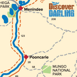 Menindee to Pooncarie map