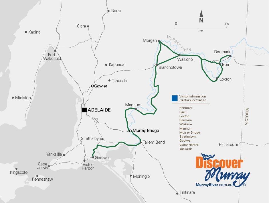 South Australia's Mighty Murray River way map