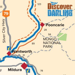 Pooncarie to Wentworth map