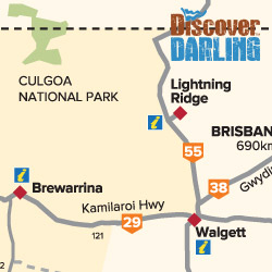 Walgett to Brewarrina map